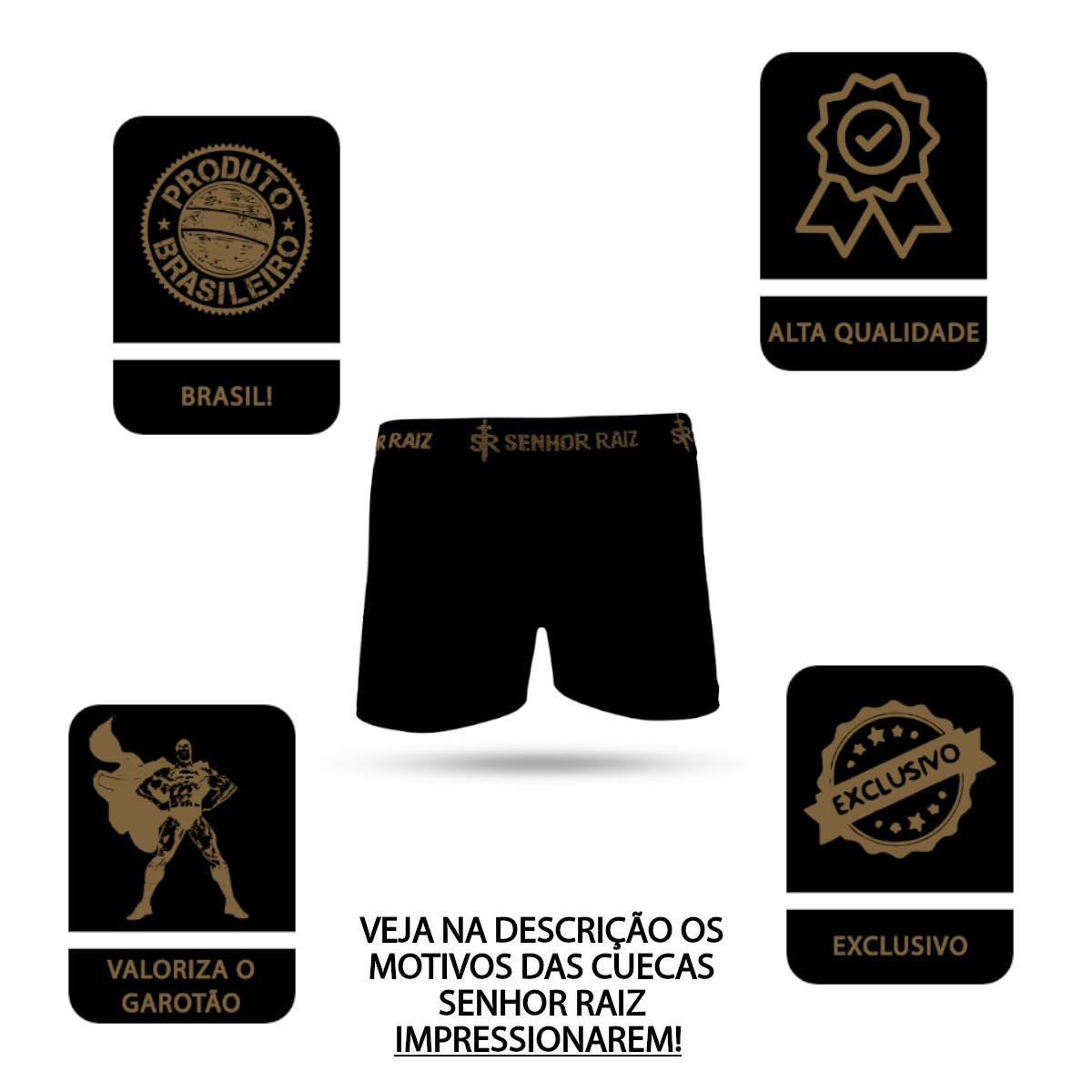 Kit Cuecas Boxer com Meias Sertanejo