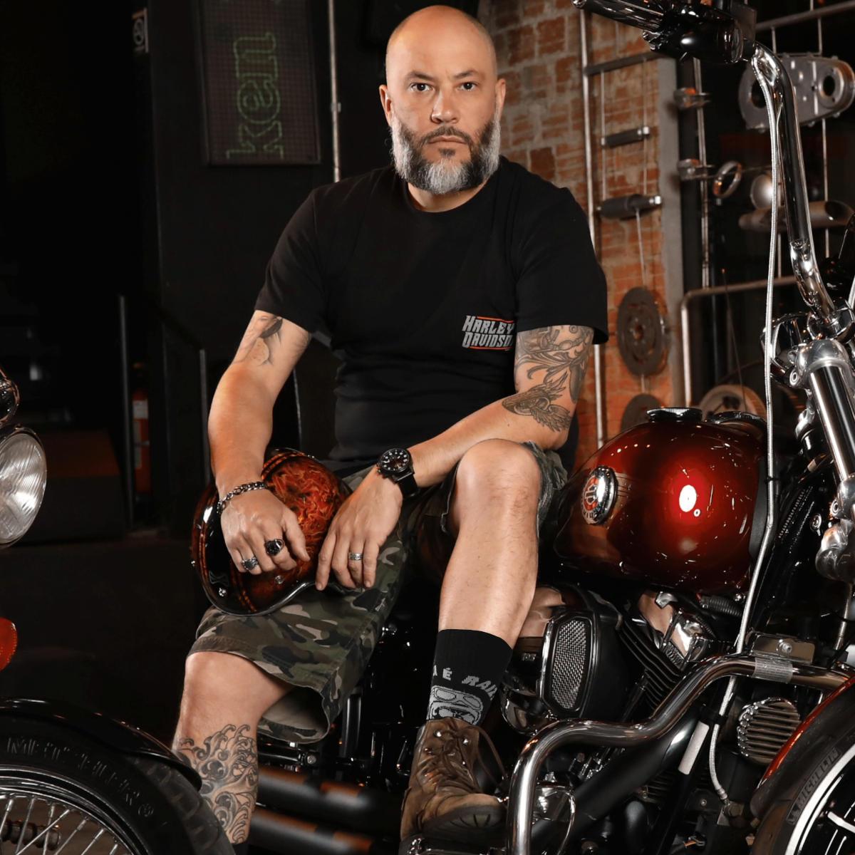 Meia Temática Motociclista - Seu Caveira