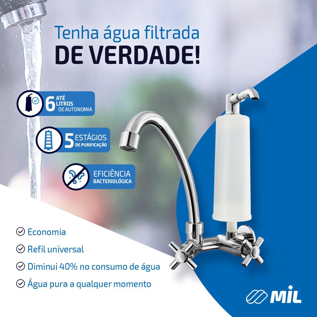Fitro De Água Alcalina E Bacteriologico C Torneira Preto