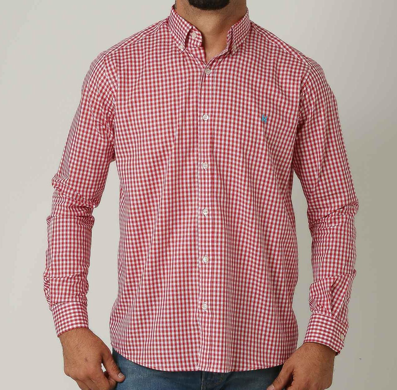 Camisa TXC Manga Longa Listrada Vermelho e Branco