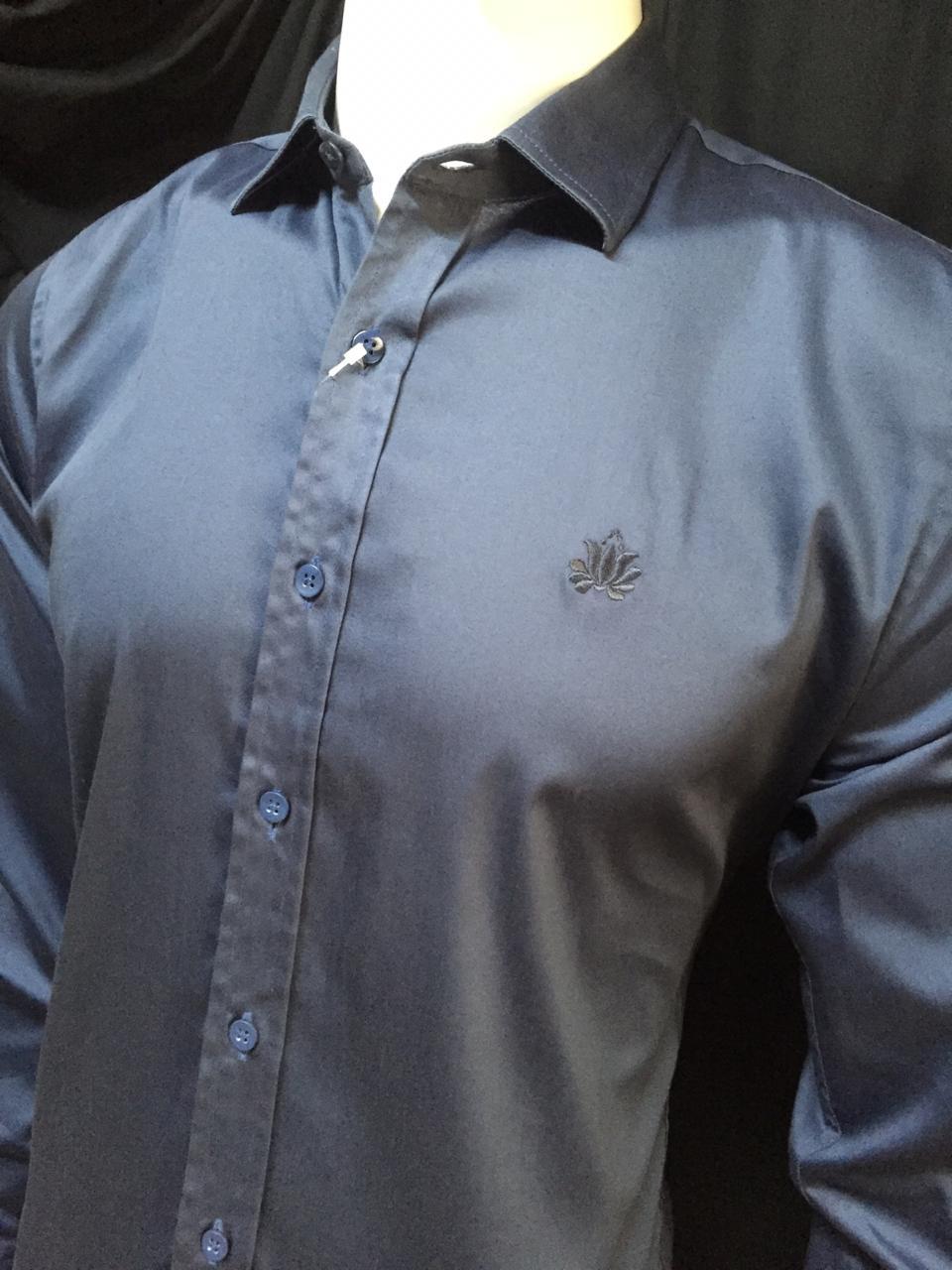 Camisa Masculina LandsCapes Manga Longa Algodão Lisa - Azul