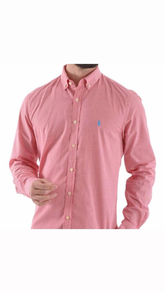 Camisa Masculina Ralph Lauren Algodão Xadrez - Rosa