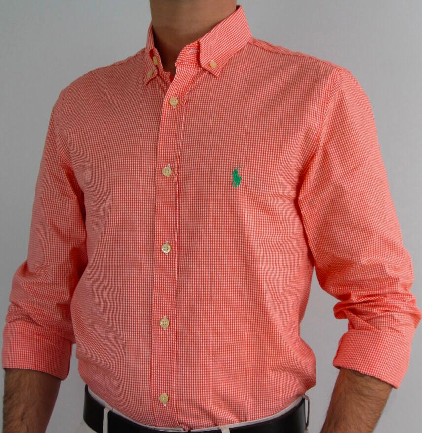 Camisa Masculina Ralph Lauren Algodão Xadrez - Vermelha
