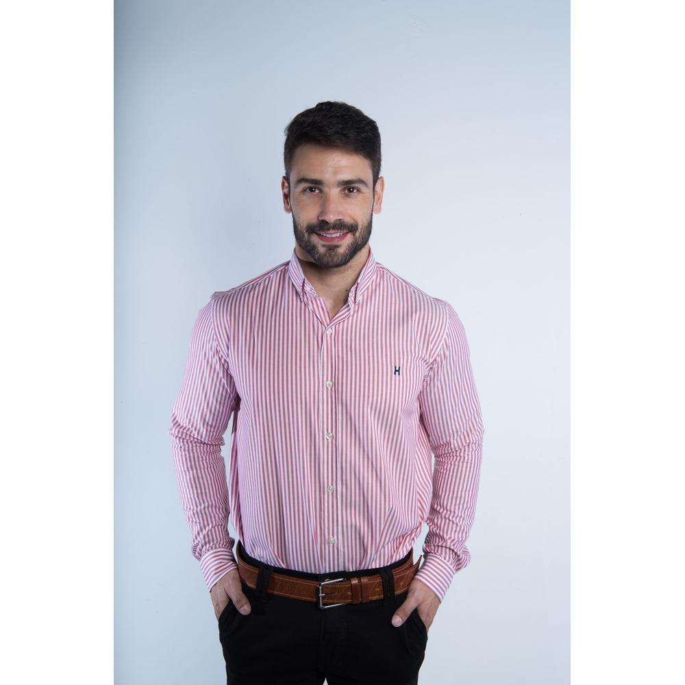 Camisa Masculina Txc Algodão Listrada - Branco e Vermelho