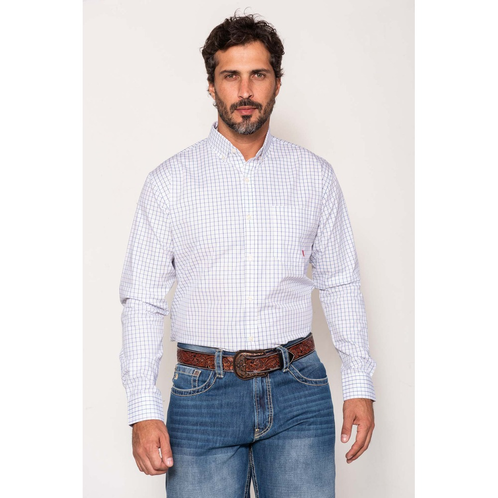Camisa Masculina Txc Algodão Xadrez - Branco e azul