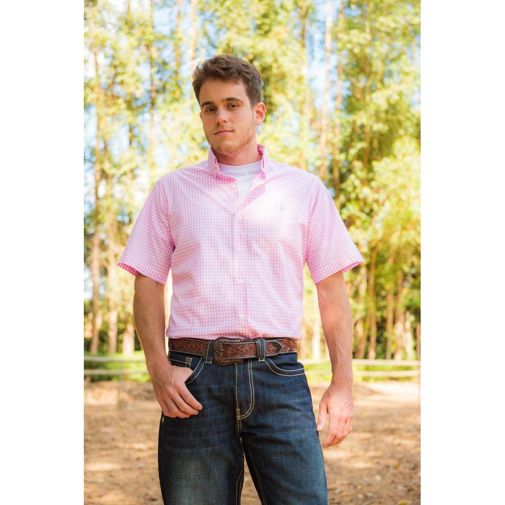 Camisa Masculina Txc Algodão Xadrez - Rosa e Branco
