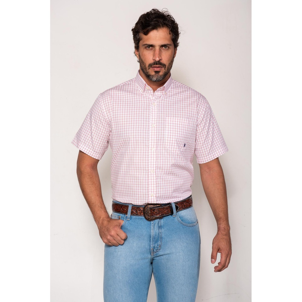 Camisa Masculina Txc Algodão Xadrez - Branco e Vermelho