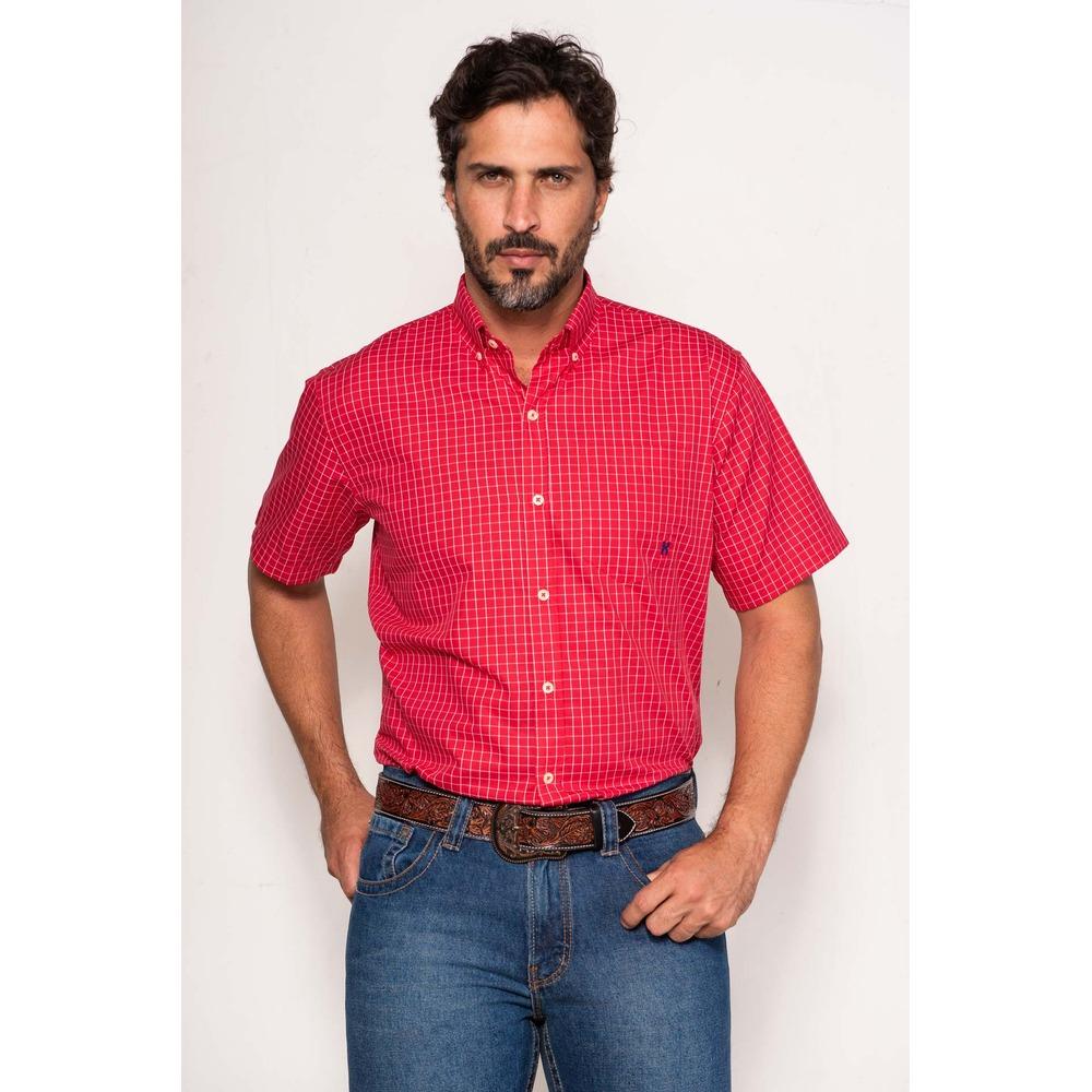 Camisa Masculina Txc Algodão Xadrez - Vermelho e Branco