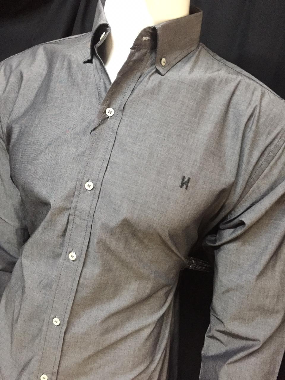 Camisa Masculina Txc Manga Longa Algodão Lisa - Cinza Escuro