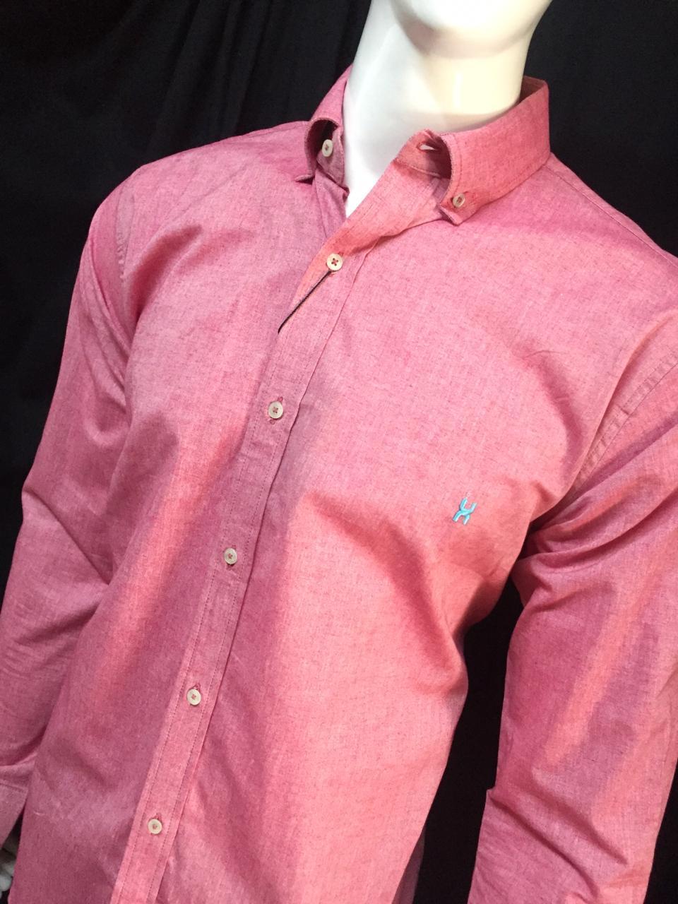 Camisa Masculina Txc Manga Longa Algodão Lisa - Vermelho