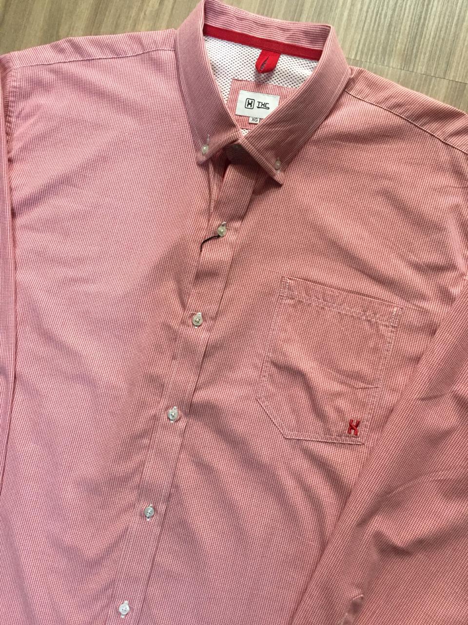 Camisa Masculina Txc Manga Longa Algodão Listrada - Vermelho
