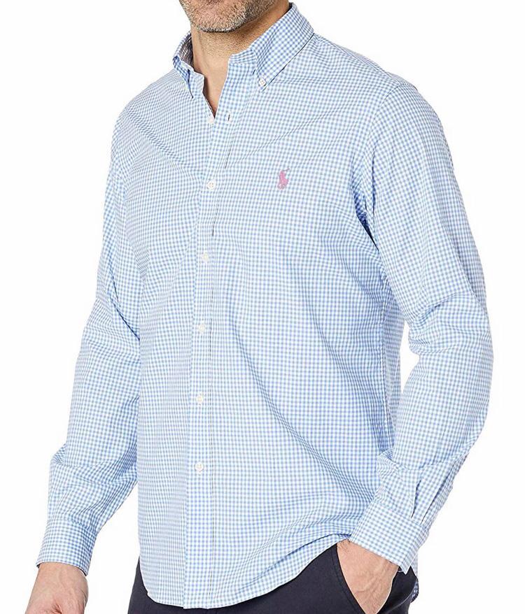 Camisa Ralph Lauren Xadrez Azul Bebe e Branco