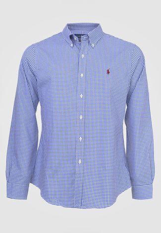 Camisa Ralph Lauren Xadrez Azul e Branco