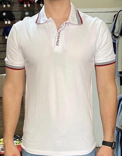 Camiseta Masculina Armani Exchange Gola Polo Algodão Lisa - Branca