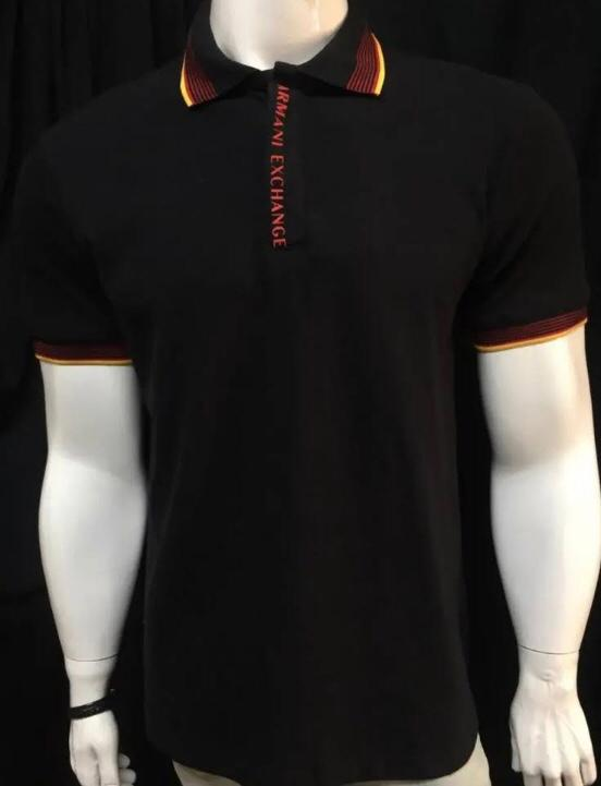Camiseta Masculina Armani Exchange Gola Polo Algodão Lisa - Preta