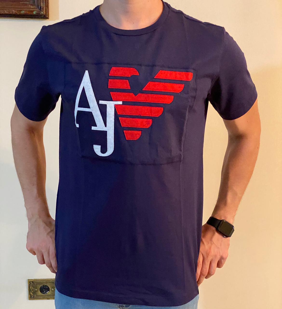 Camiseta Masculina Armani Jeans Algodão Lisa - Azul Marinho