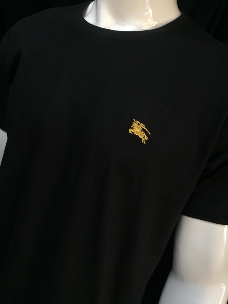 Camiseta Masculina Burberry b5 Algodão Lisa - Preto