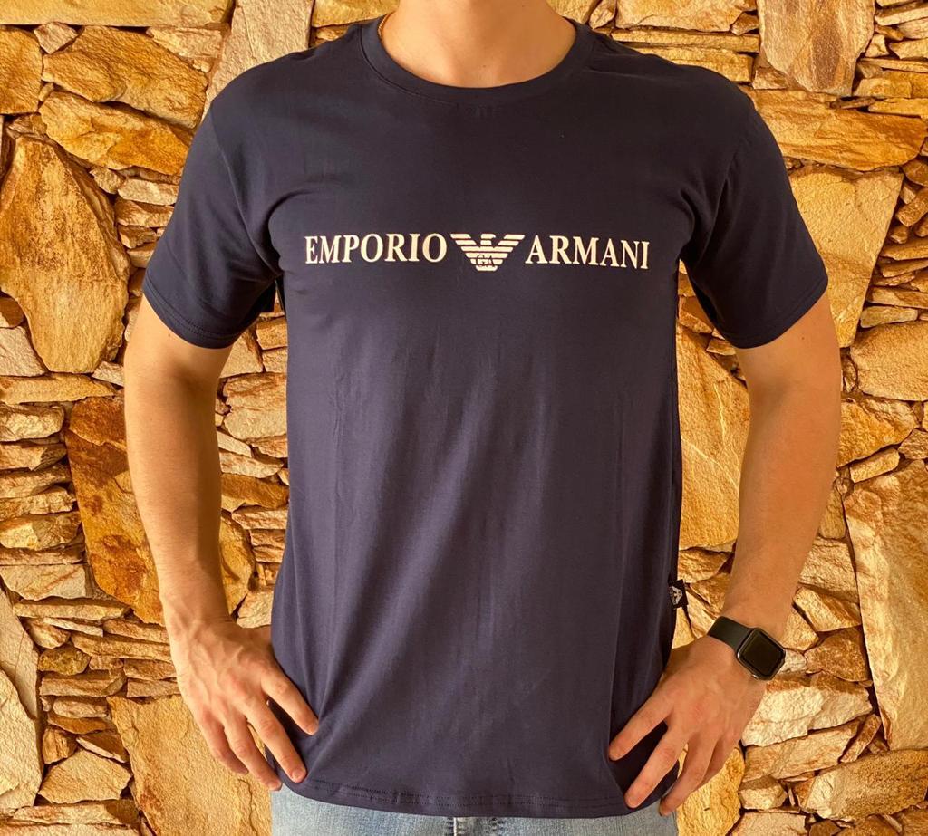 Camiseta Masculina Armani Exchange Algodão Estampada - Azul Marinho