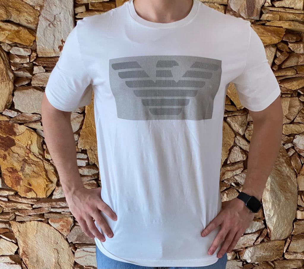 Camiseta Masculina Armani Exchange Algodão Lisa - Branca Palha