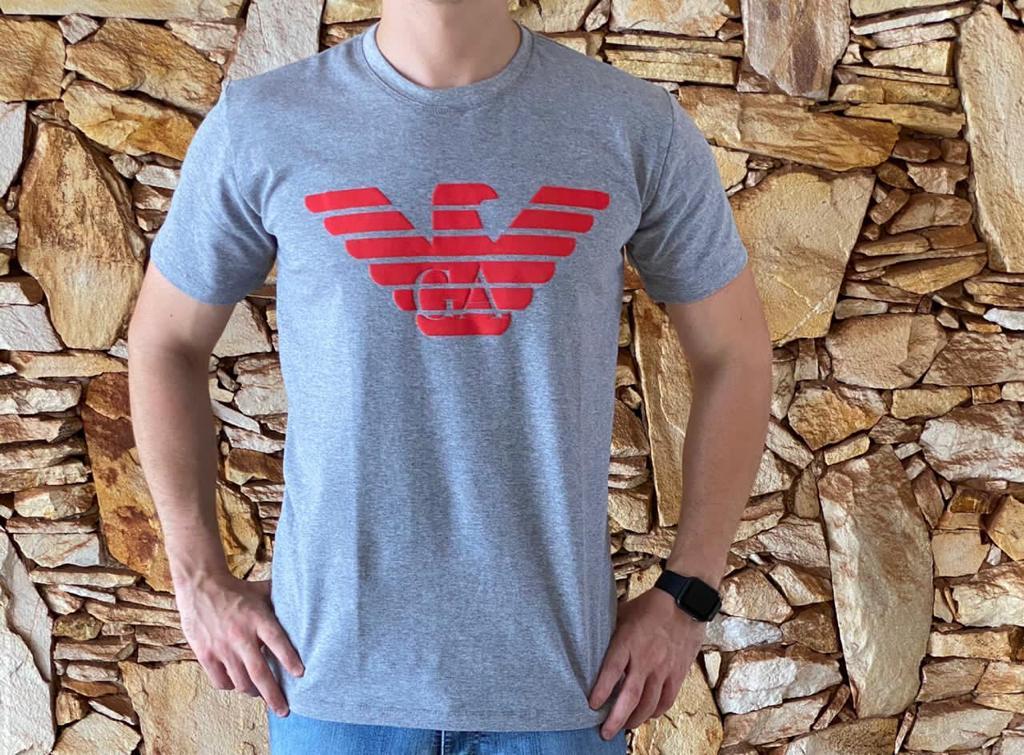 Camiseta Masculina Armani Exchange Algodão Estampada - Cinza