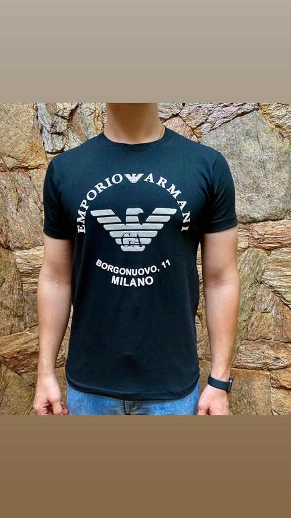 Camiseta Masculina Armani Exchange Algodão Lisa - Preta