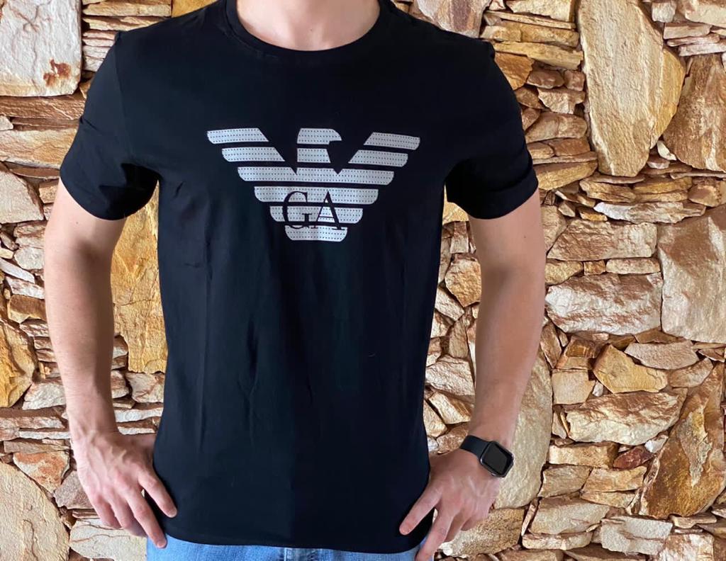 Camiseta Masculina Armani Exchange Algodão Estampada - Preta