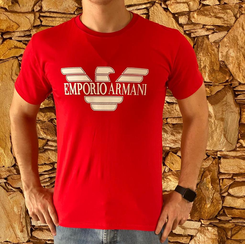Camiseta Masculina Armani Exchange Algodão Estampada - Vermelha