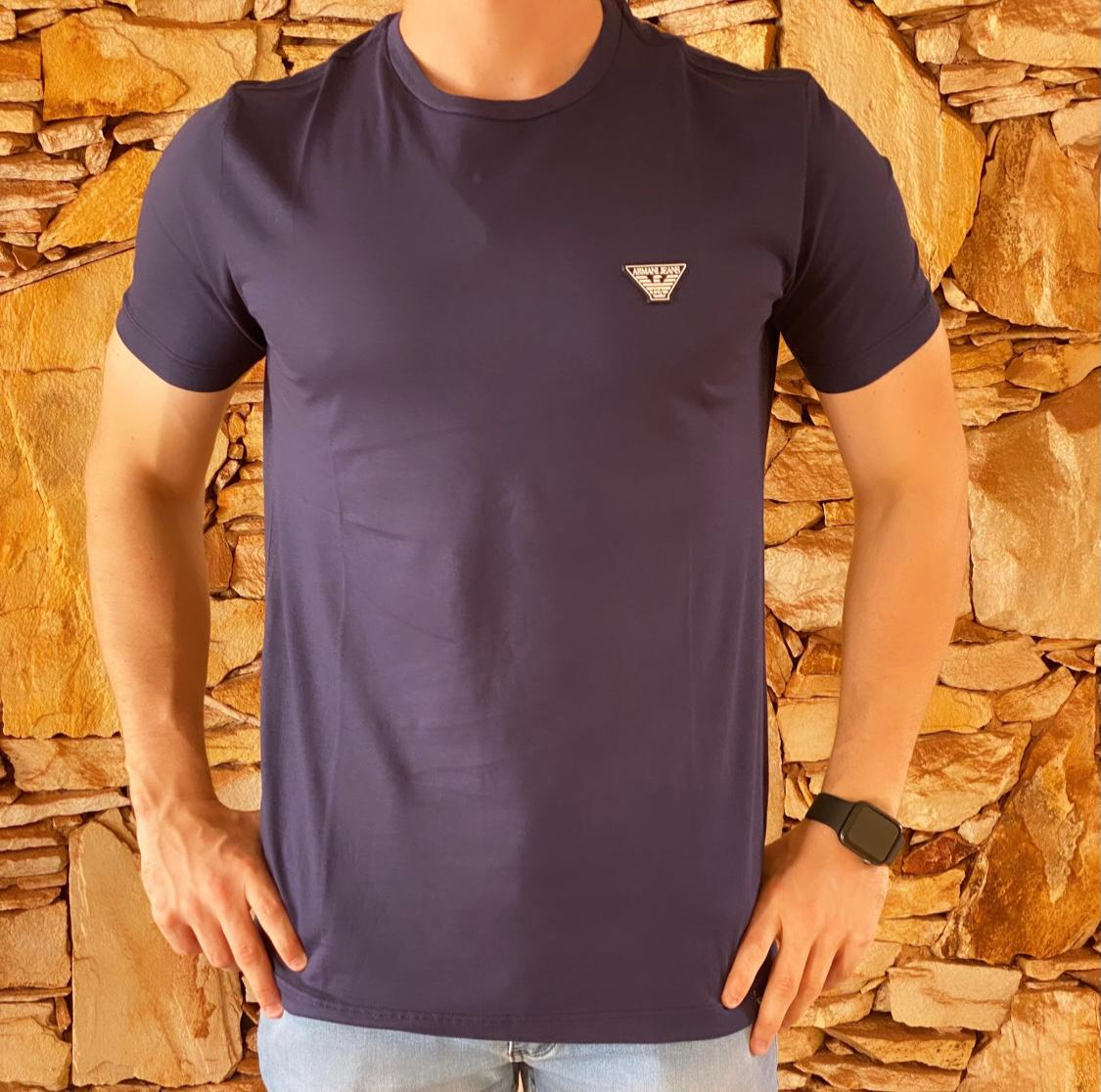 Camiseta Masculina Armani Exchange Algodão Lisa - Azul Marinho