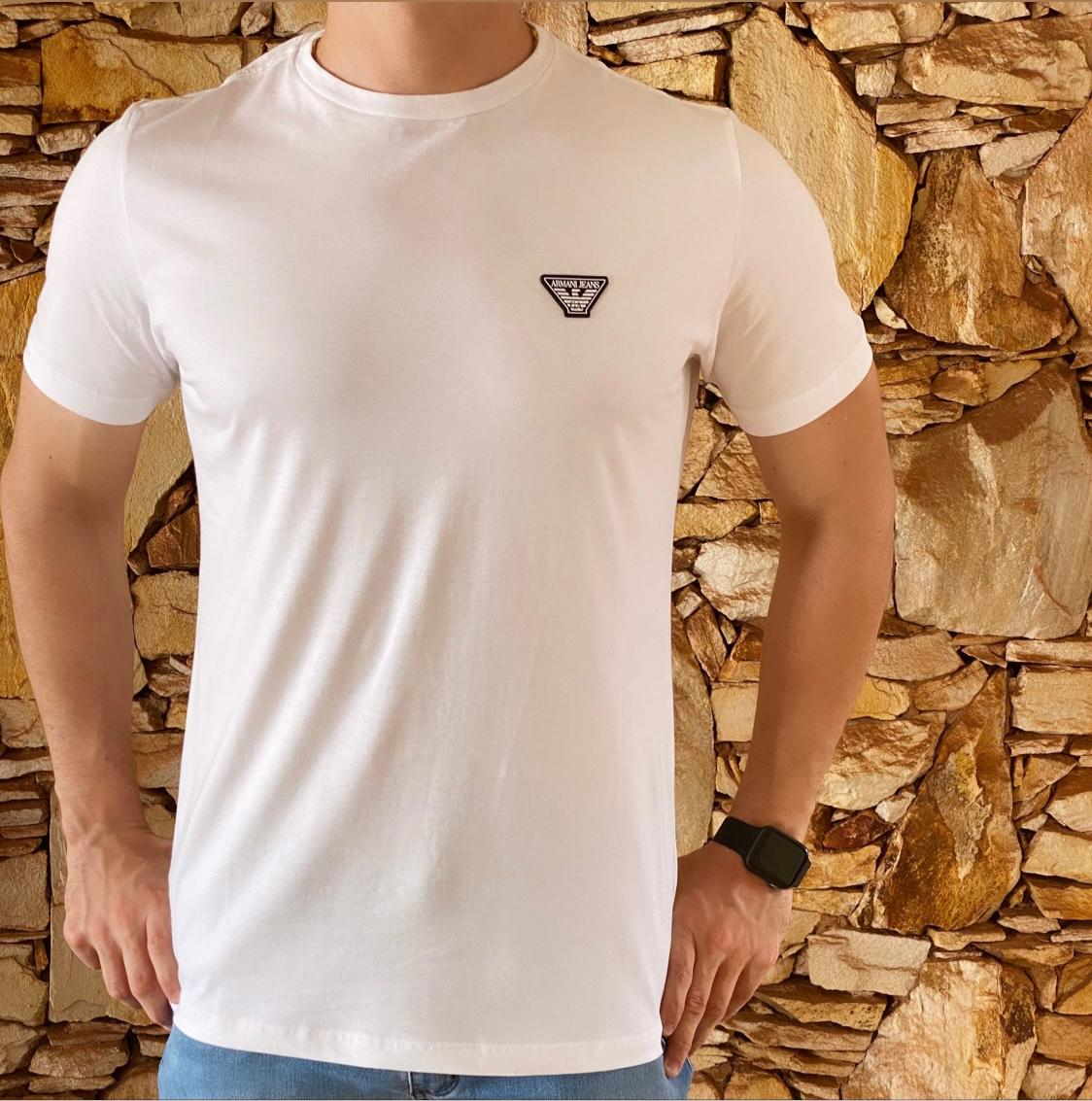 Camiseta Masculina Armani Exchange Algodão Lisa - Branca