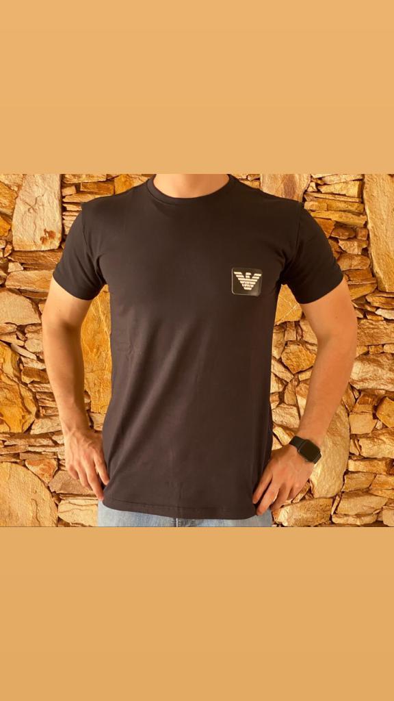 Camiseta Masculina Armani Exchange Algodão Lisa - Preto