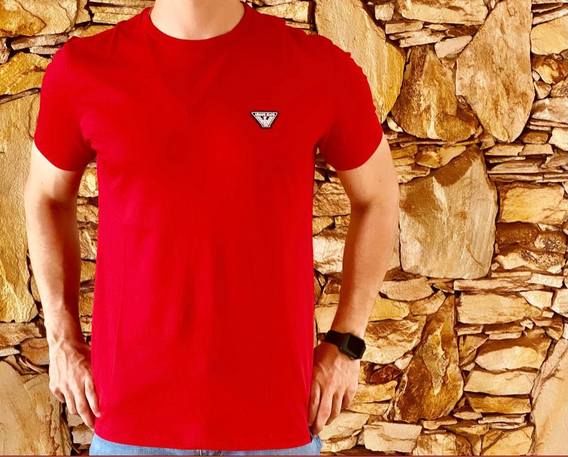 Camiseta Masculina Armani Exchange Algodão Lisa - Vermelha