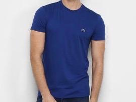 Camiseta Masculina Lacoste Algodão Lisa - Azul