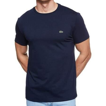 Camiseta Masculina Lacoste Algodão Lisa - Azul Marinho
