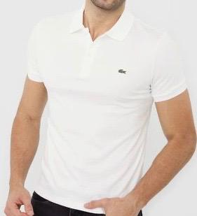 Camiseta Masculina Lacoste Gola Polo Algodão Lisa- Branca