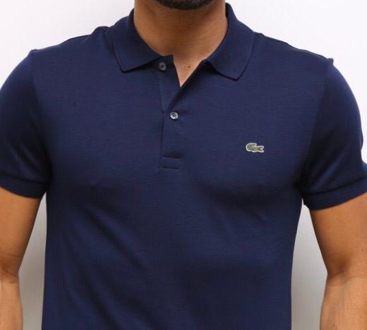 Camiseta Masculina Lacoste Gola Polo Algodão Lisa- Azul Marinho