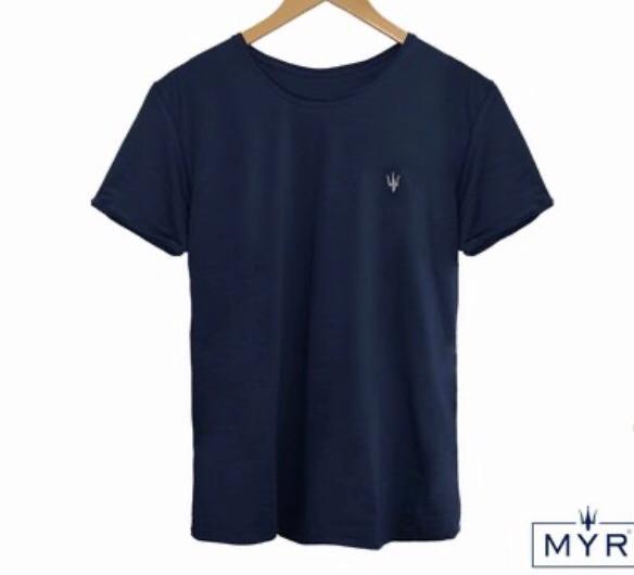 Camiseta Masculina MYR Basic Algodão Lisa - Azul Marinho