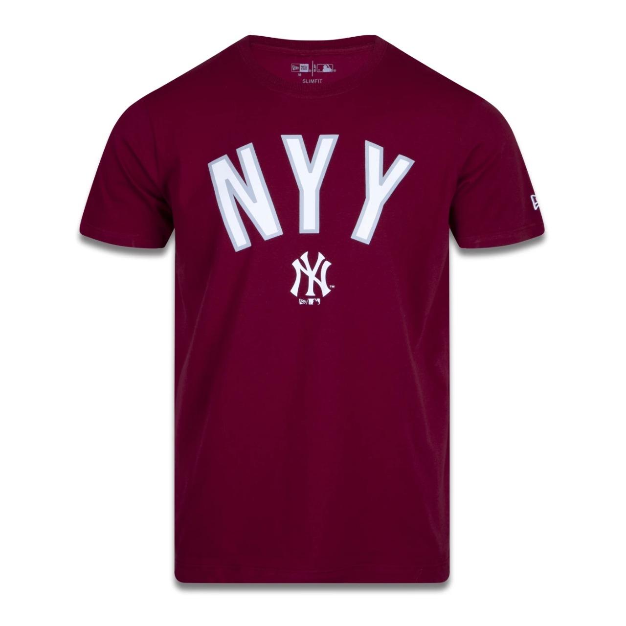 Camiseta Masculina New Era New York Yankees Core World Mark Vermelha Bordô