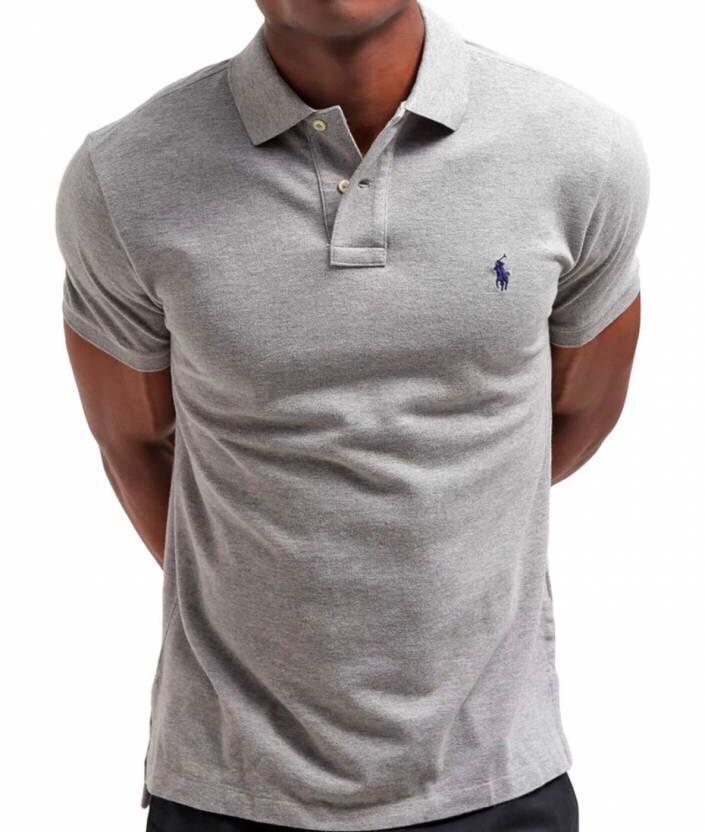 Camiseta Masculina Ralph Lauren Gola Polo Algodão Lisa- Cinza