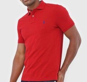 Camiseta Masculina Ralph Lauren Gola Polo Algodão Lisa- Vermelho