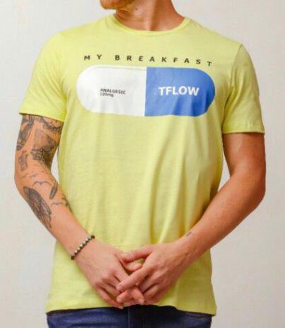 Camiseta Masculina Tflow Algodão Lisa - Amarelo