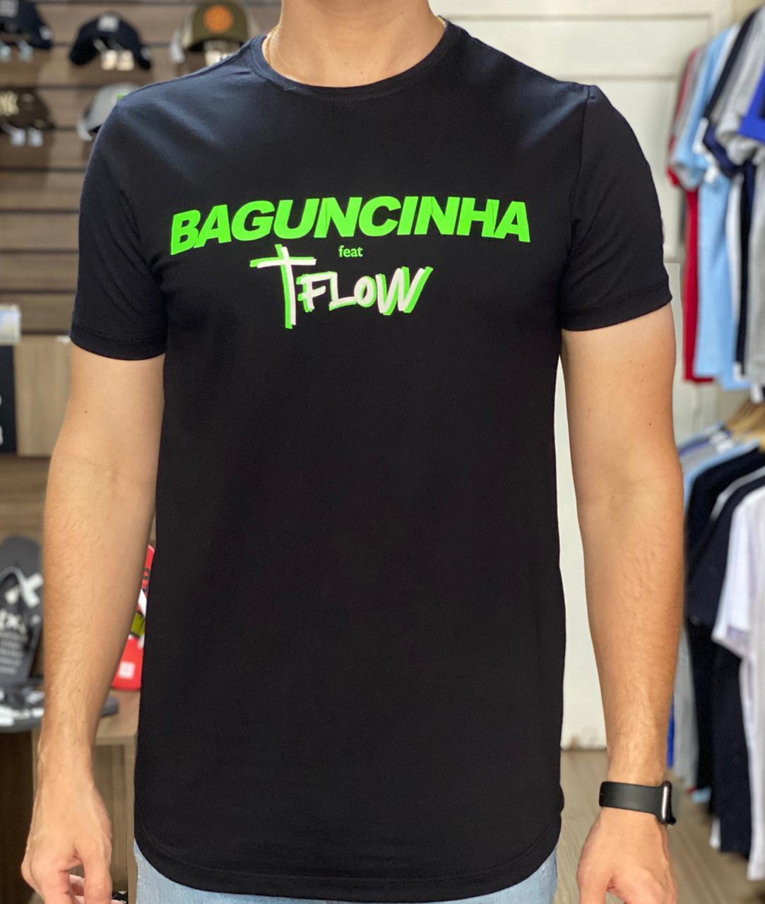 Camiseta Masculina Tflow Baguncinha Algodão Lisa - Preta