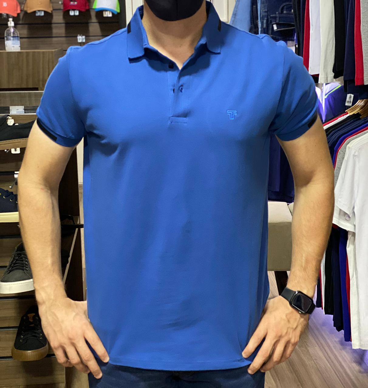 Camiseta Masculina Tflow Gola Polo Algodão Lisa - Azul
