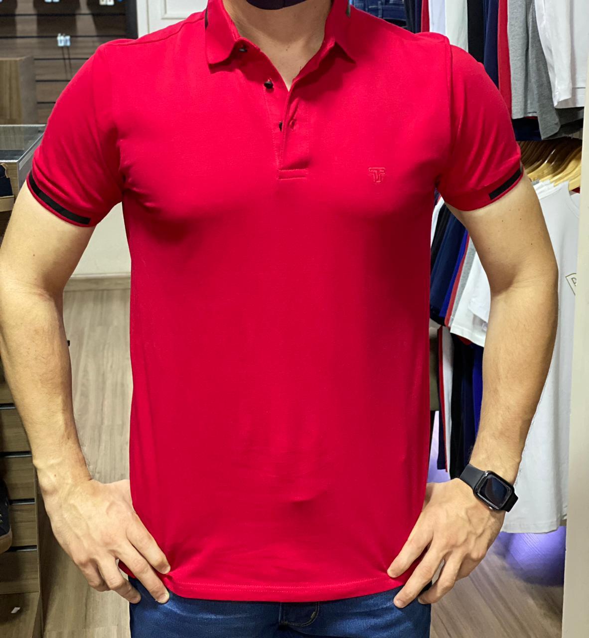 Camiseta Masculina Tflow Gola Polo Algodão Lisa - Vermelho Escuro