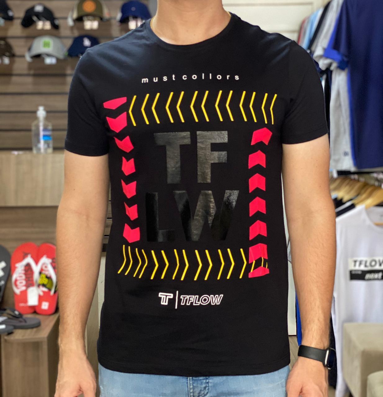 Camiseta Masculina Tflow Must Collors Geome Algodão Estampada - Branco