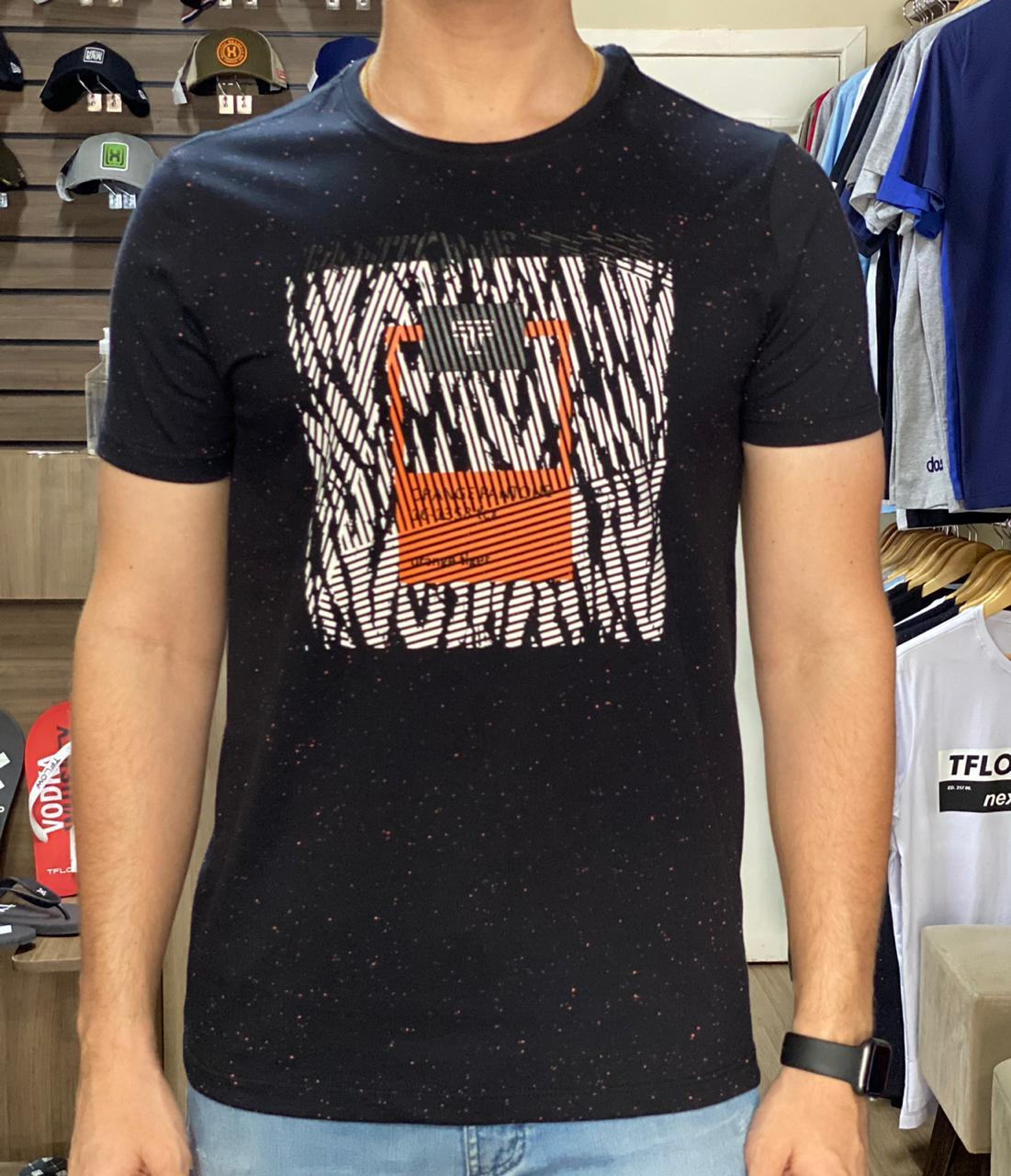 Camiseta Masculina Tflow Algodão Estampada - Preto