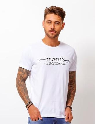Camiseta Masculina Tflow Respeita Minha Historia Algodão Lisa - Branco