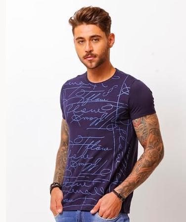 Camiseta Masculina Tflow Algodão Estampada - Azul Marinho