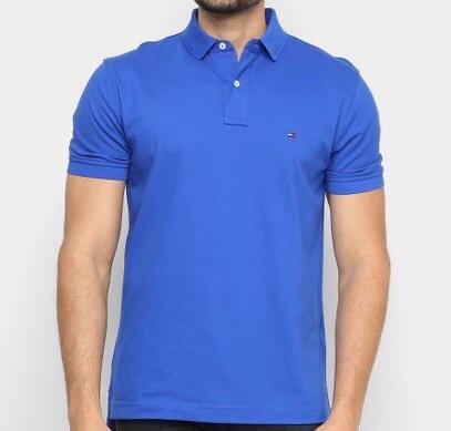 Camiseta Masculina Tommy Hilfiger Gola Polo Algodão Lisa - Azul Escuro