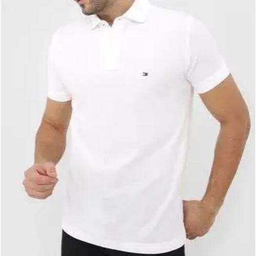 Camiseta Masculina Tommy Hilfiger Gola Polo Algodão Lisa - Branca