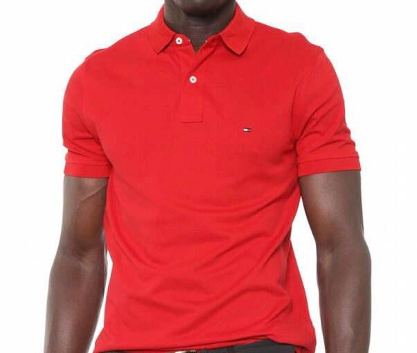 Camiseta Masculina Tommy Hilfiger Gola Polo Algodão Lisa - Vermelho